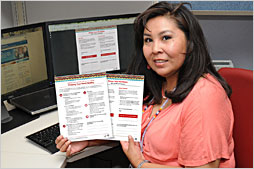 A woman browsing the IHS Division of Diabetes Online catalog.