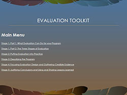 Evaluation toolkit screen