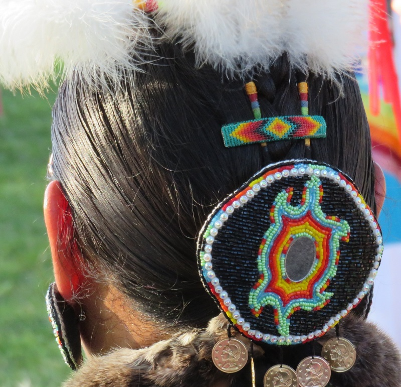 The back of the head of a native american person in costume