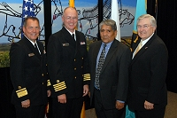 Left to Right: Dr. Charles Grim, CAPT Russel Pederson, Jim Toya, and Robert McSwain