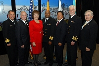 Left to Right: Dr. Charles Grim, Gary Hartz, Mary Lou Stanton, Randall Gardner, Chris Mandregan, Chuck North, and Robert McSwain