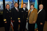 Left to Right: Dr. Charles Grim,   Mr. John Daugherty, Jr., CDR Brandon Taylor, Joe Fisher, and Robert McSwain