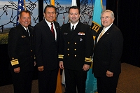 Left to Right: Dr. Charles Grim,   Mr. John Daugherty, Jr., CDR Brandon Taylor, and Robert McSwain