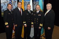 Left to Right: Dr. Charles Grim,   Mr. John Daugherty, Jr., LCDR Mark Rives, CAPT Marty Smith, and Robert McSwain