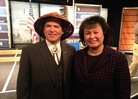 Thumbnail - clicking will open full size image - Brian Cladoosby, NCAI President, and Dr. Yvette Roubideaux, IHS Director at the NCAI State of Indian Nations 2014 Address