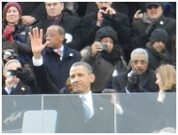Thumbnail - clicking will open full size image - President Barack Obama at the Swearing-In Ceremony, photo by Dr. Roubideaux