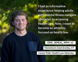 Inforgraphic of Eric Jepeal listing his hometown of East Granby, CT and his Career Path of Health Law Attorney