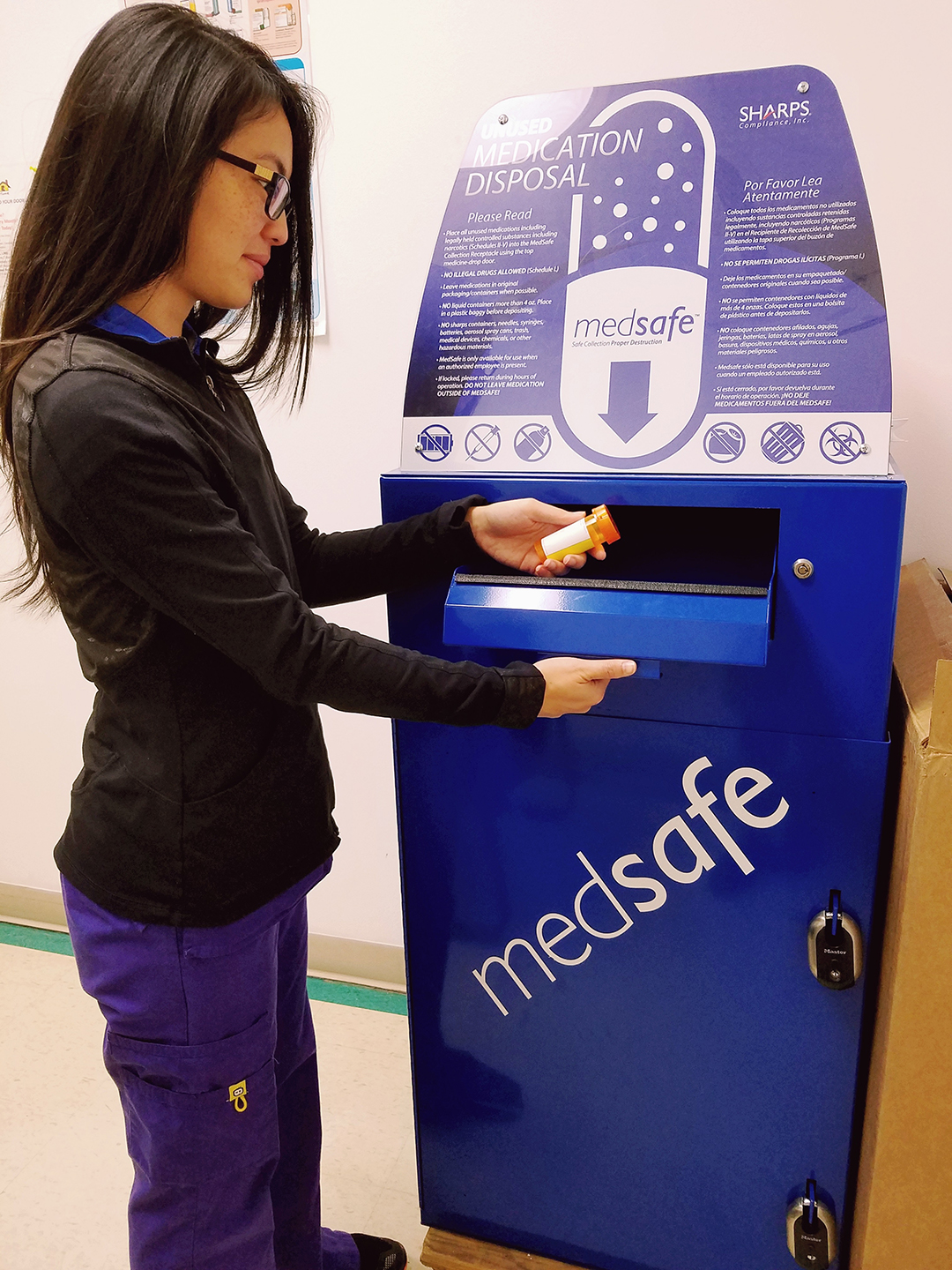 The medication disposal system at Belcourt IHS is user-friendly and environmentally safe.