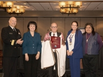 Thumbnail - clicking will open full size image - Former IHS Director, Dr. Everett Rhoades receiving Carole Anne Heart Award