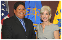 Thumbnail - clicking will open full size image - STAC Chair Ken Lucero and Secretary Sebelius