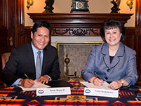 Thumbnail - clicking will open full size image - Notah Begay III and Dr. Yvette Roubideaux