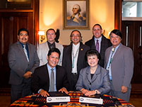 Thumbnail - clicking will open full size image - Notah Begay III, Dr. Yvette Roubideaux, Pueblo of San Felipe LT Governor Joseph Sandoval, Shakopee Mdewakanton Vice-Chairman, Keith Anderson, Navajo Nation Vice-President, Rex Lee Jim, Agua Caliente Chairman, Jeff Grubbe, and Chairman and CEO of the Oneida Nation, Ray Halbritter