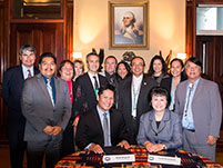 Thumbnail - clicking will open full size image - Notah Begay III, Dr. Yvette Roubideaux, Pueblo and Tribal leaders, and NB3F staff