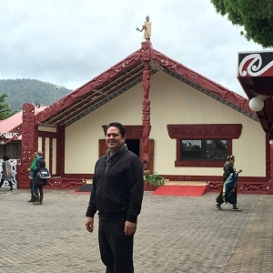 Pictured is Ben Smith, director of the IHS Office of Tribal Self-Governance, at the location of the opening Pōwhiri (welcome) by the Te Arikinui (Māori King) at Tūrangawaewae Marae (Māori meeting ground)