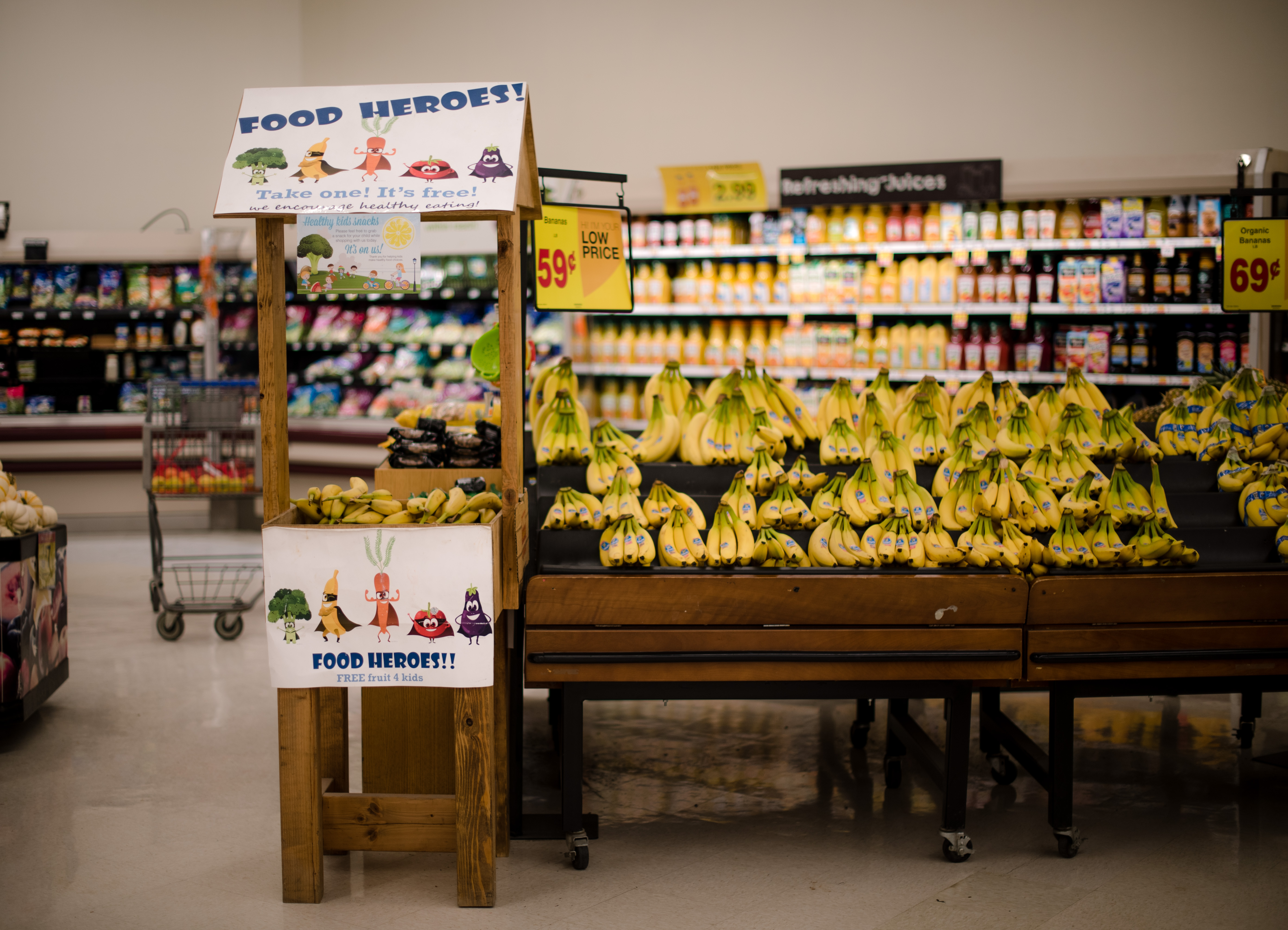 A permanent fruit stand was placed in City Market Grocery in Shiprock, New Mexico