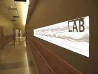 Thumbnail - clicking will open full size image - The laboratory sign at Samuel Simmonds Memorial Hospital.