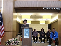 Thumbnail - clicking will open full size image - Dr. Yvette Roubideaux, IHS Director, speaking at the dedication of Samuel Simmonds Memorial Hospital, August 2013 in Barrow, AK