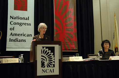 Secretary Sebelius addresses Tribal leaders at the NCAI