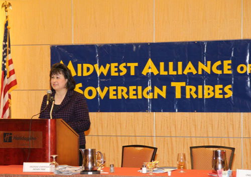 Dr. Roubideaux speaking at the Midwest Alliance of Sovereign Tribes