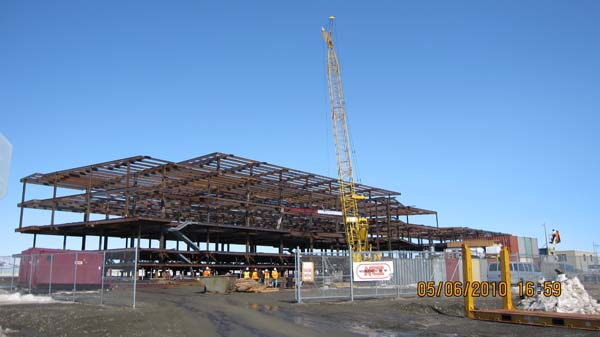 Nome construction steel framing well underway