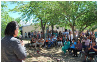 Thumbnail - clicking will open full size image - Dr. Roubideaux speaks outside at the Gallup Indian Medical Center