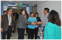 Thumbnail - clicking will open full size image - Dr. Roubideaux meets staff at the Gallup Indian Medical Center
