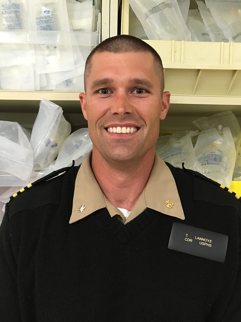Cmdr. Tyler Lannoye is the Chief Pharmacist for the Quentin N. Burdick Memorial Health Care Facility