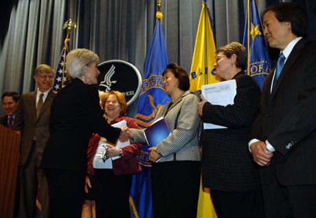 Dr. Roubideaux and Kathleen Sebelius at the HHS 2011 Budget Rollout