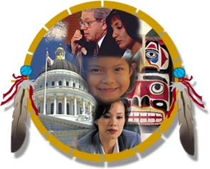 Graphic depicting a shield with feathers and American Indian and Alaska Native faces, a Totem Pole, and the dome of the Capitol Building in Washington D.C.